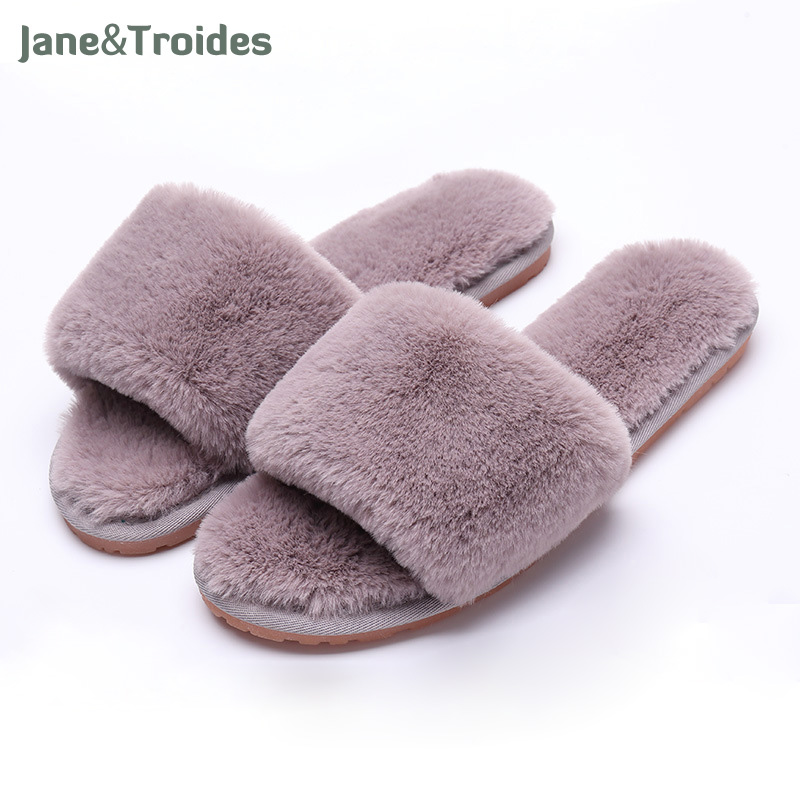 Autumn Home Fluffy Women Slippers Soft Warm Anti Slip Flip Flops Open Toe Plush House Sandals Fashion Fleece Women Shoes flat fur women slippers 2017 fashion leisure open toe women indoor slippers fur high quality soft plush lady furry slippers