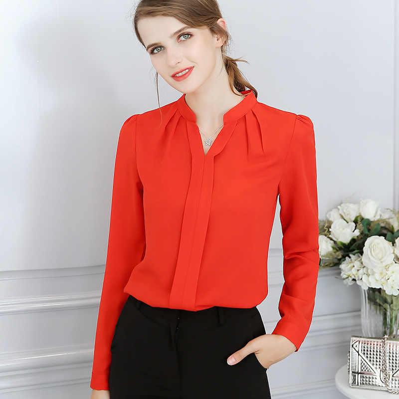 2019 春秋の新女性のシャツファッション甘い事務パーティー長袖スリムブラウス白、赤、プラスサイズカジュアルシャツ