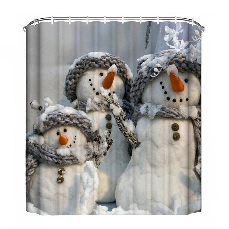 Us 17 24 31 Off Christmas Snowman Gift Tree Santa Design Of Waterproof Bathroom Fabric Shower Curtain With 12hooks 66