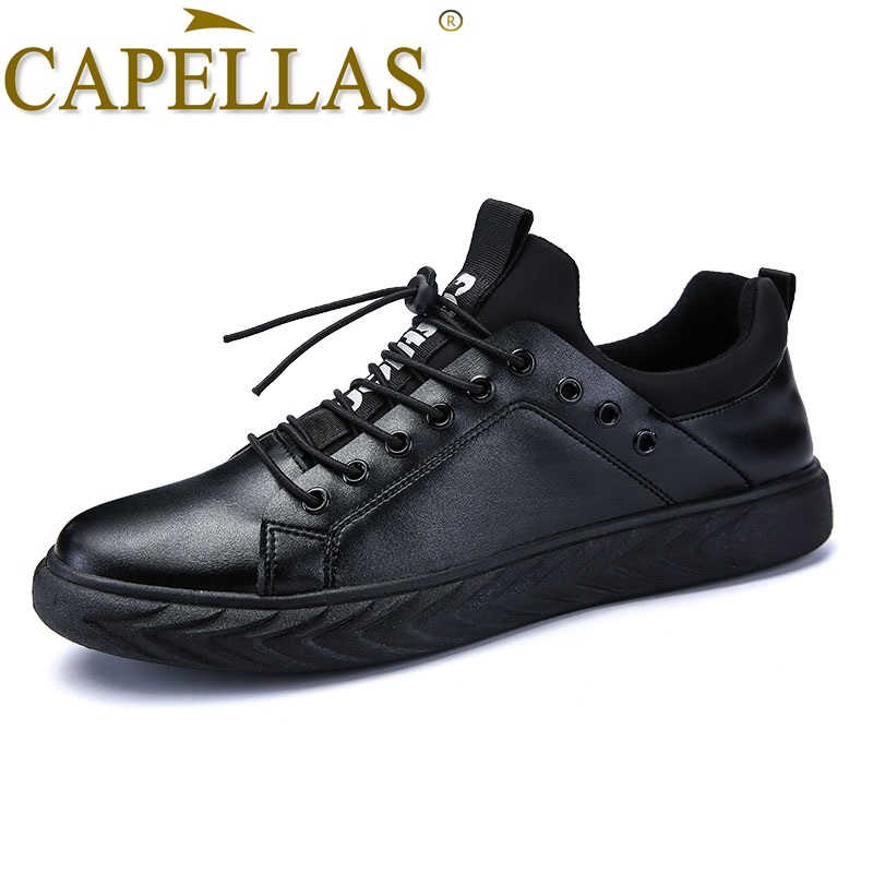 CAPELLAS Men`s Leather Shoes Mens Fashion Casual Shoes Breathable Sport Designer Men Leather Shoes Zapatos Hombre Size 39-44