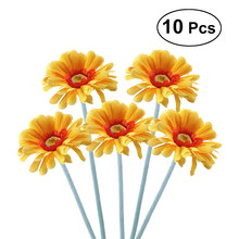 10pcs Artificial Sunflower Plastic Fake Gerbera Bunch for Home Garden Party Wedding Decorationm (Dark Yellow)(China)