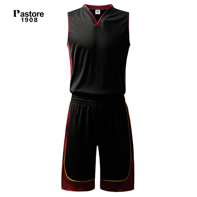 35e5e729f93 pastore1908 mens Basketball Jersey suit quick dry breathable running  sportswear set Personalise pattern custom jersey black306AB