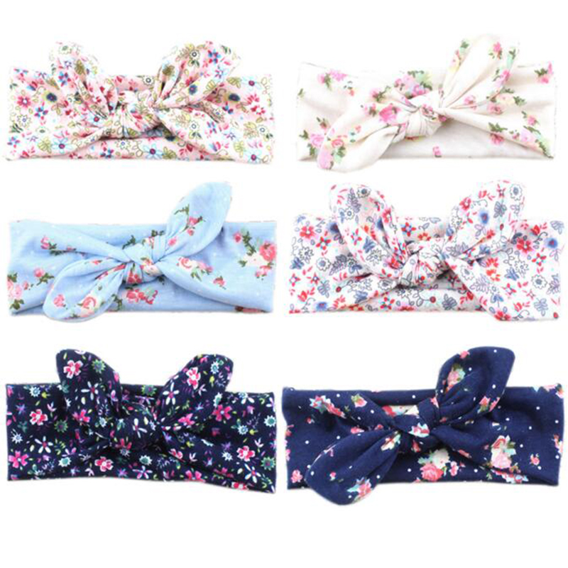 TWDVS Newborn Printing little Flower Knot Elasticity Hair band Kids Cotton Tie a Knot Hair Accessories ring Flower Headband W197 twdvs babe hair bands printing knot hair band girls elastic cotton headband newborn hair accessories kids headwear hairpins w146