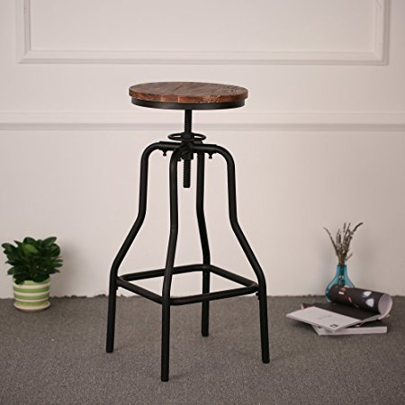 Industrial Chair Metal Frame Wood Pile Seat Special Design Home Bar