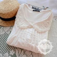 Япония Мори девушки милый Питер Пэн воротник рубашка Мори девушка с длинным рукавом хлопок рубашка Женская Повседневная Блузка Лолита Cawaii Tricot Топы