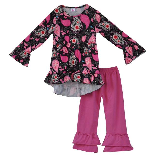 2017 primavera nova boutique de roupas de bebê roupas de criança meninas vintage floral 2 pcs crianças ruffle outfits crianças conjuntos de roupas f089