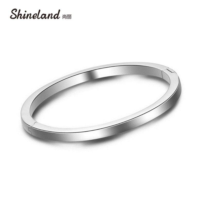 Shineland Simple Design Round Bangle 100% 925 Sterling Silver Bracelet For Men Women Classic Charm Jewelry Pulseiras de Prata браслет с брелоками seendom jewelry 925 pulseiras cz xoxo pbs105