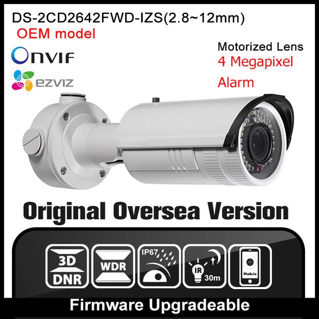 OEM DS-2CD2642FWD-IZS HIK Inglês Versão 4MP Câmera IP POE Varifocal P2P H264 Câmera de Rede Bala CCTV camera Onvif HIKVISION