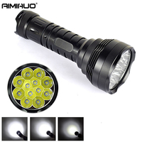 AIMIHUO LED flashlight Waterproof Torch 12T6 hunting camp 16000LM Hard Light flashlight Lamp For 18650 Rechargeable Battery
