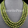Pearl Necklace - 64-Inch 7.5-8.5mm AA Green Natural Freshwater Pearl Long Necklace Fashion Lady's Party Jewelry - Free Shipping