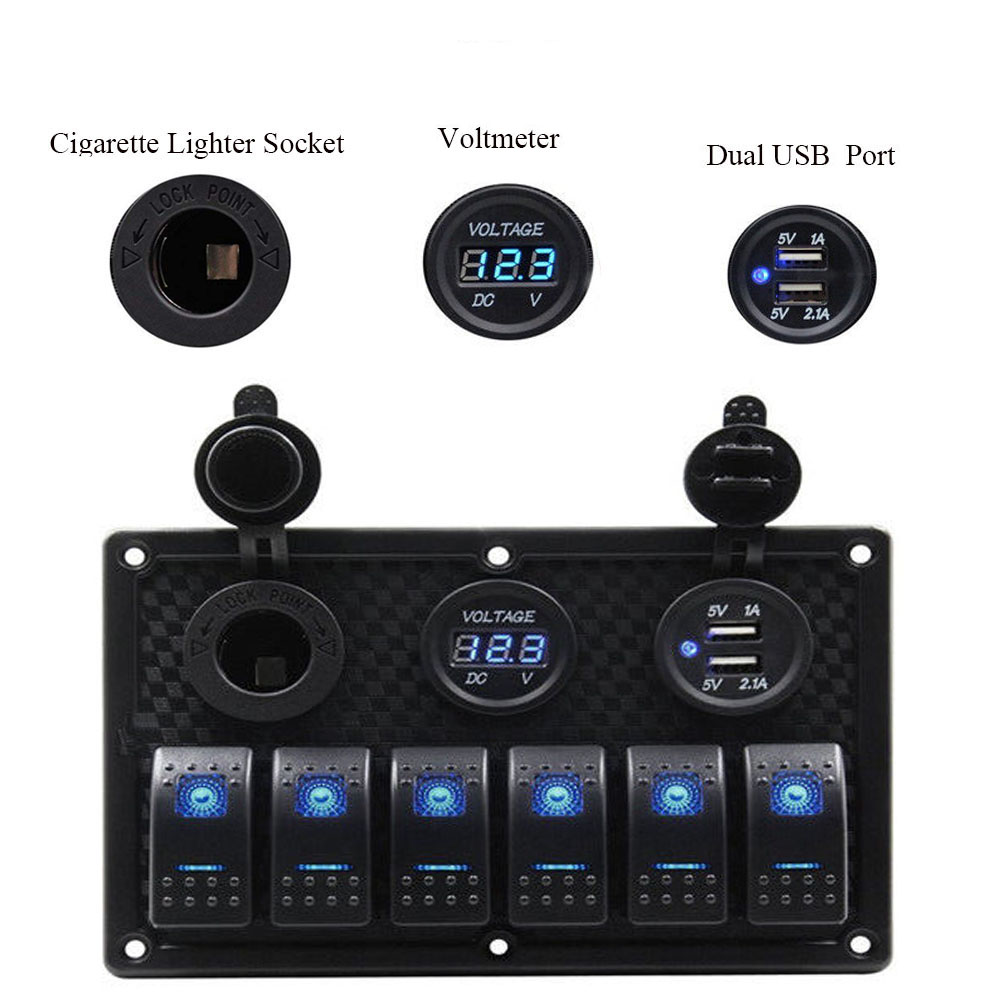 6 Gang Control Switch Panel 12V Cigarette Lighter Waterproof RV Boat Marine Car LED Dual USB Rocker Switch Panel Circuit Breaker 8 gang rocker switch panel voltmeter 12v 24v dual usb charger cigarette lighter socket boat car rocker waterproof hot