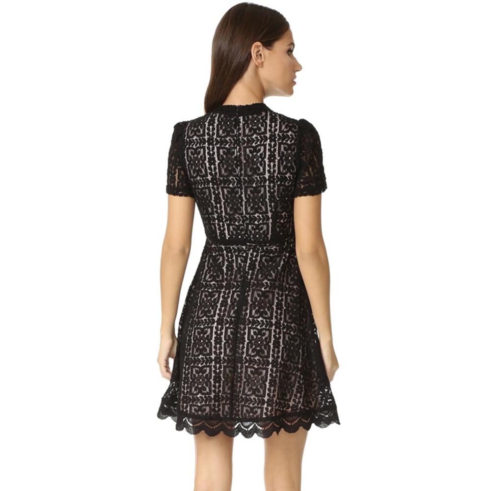 c536922947 Elegant Women s Burgundy Lace Skater Dress Petite Vestido Turtleneck Short  Sleeves A-Line Mini Black Floral Lace Dresses 2017 XS