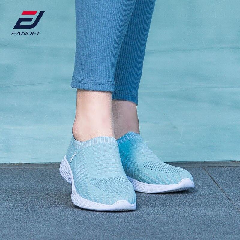 FANDEI summber running shoes for women slip-on walking shoes women breathable mesh women sneakers comfortable sport shoes women