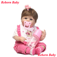 NPK adorable reborn babies girl dolls 40cm silicone reborn baby doll with pink bear clothing pacifier bottle bebe dolls bonecas