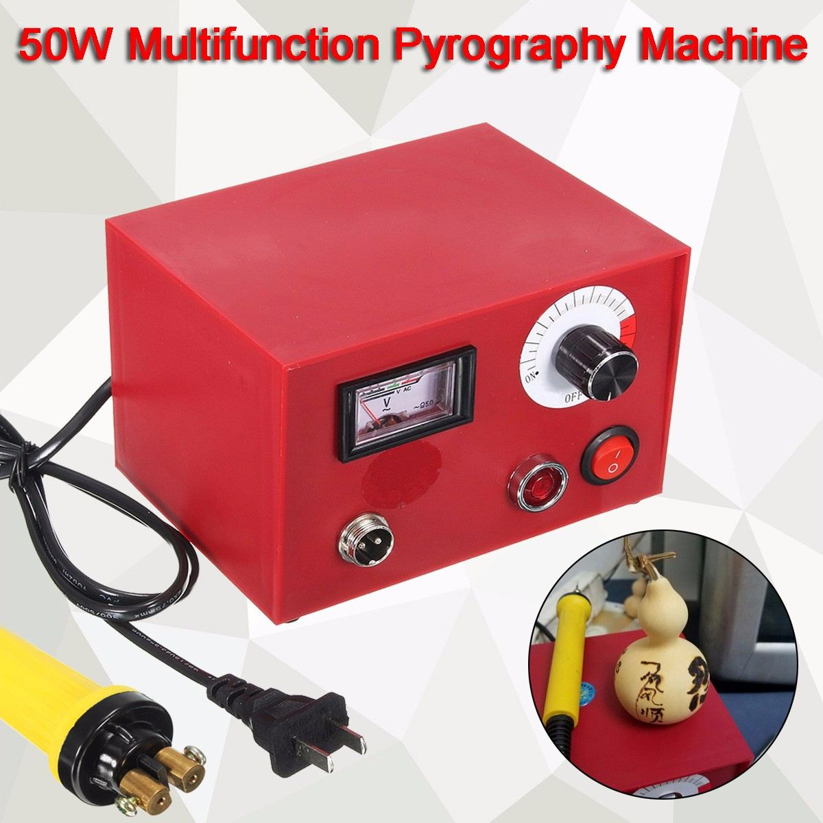 220V AC 50W DIY Craft Multifunction Pyrography Machine With 1Pc Pyrography Pen Copper Heating Solder Tip Gourd Wooden Tool Set