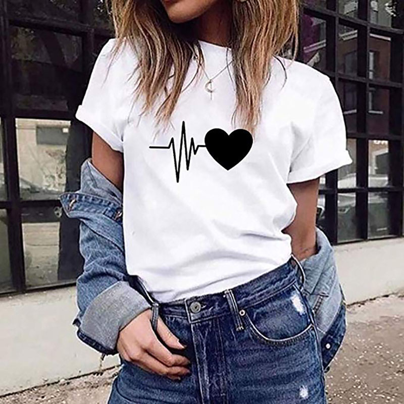SexeMara Sweet Love Print Women T Shirt Casual Wild White T-shirt With Print Korean Style Fashion Women Summer Streetware Tops