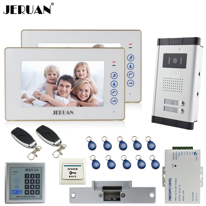 JERUAN White 1V2 Doorbell 7`` Video Door Phone Intercom System kit 2 Touch key Monitor 1 HD Camera RFID Access Control In stock  jeruan new 7 inch touch key color video intercom entry door phone system rfid access doorbell camera 1 monitor in stock