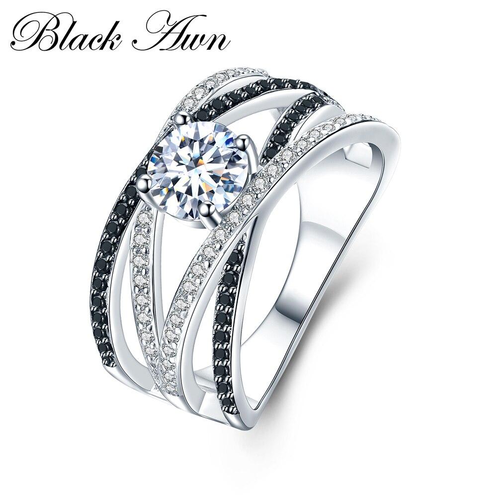 Chegada nova Authentic 925 de Prata Esterlina Mulheres Anéis Branco/Preto Zirconia 925 Anéis de Prata de Presente Belas Jóias Bague C012