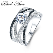 New Arrival Authentic 925 Sterling Silver Women Rings White/Black Zirconia 925 Silver Rings Fine Jewelry Gift Bague C012