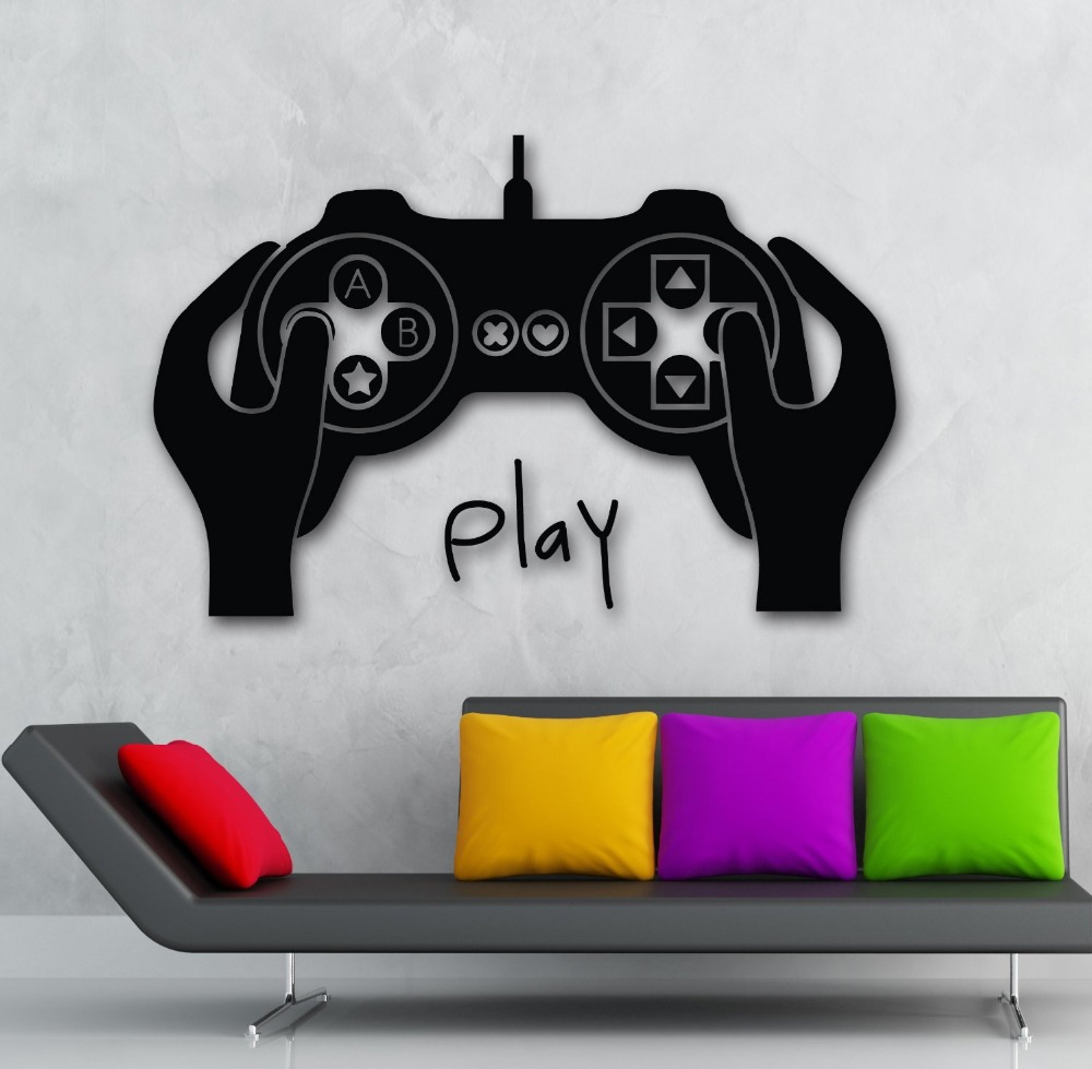 Gamer Vinyl Wall Decal Video Game Joystick Xbox Gamer For Kids Room Mural  Wall Sticker Play