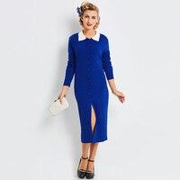 Sisjuly Autumn Cardigan Patchwork Lace Dress Mid Calf Party Dress Wrist Sleeve O Neck Fall Sheath