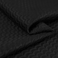 Jacquard Fashion Cotton Blend Fabric Water Wave Pattern Slight Luster Smooth Fabric Black Color Sew For