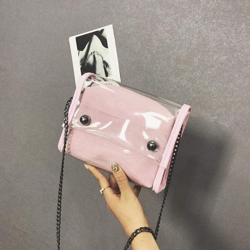 Для женщин модные прозрачные водонепроницаемые сумка Сумка lady чистый цвет пряжки небольшой площади сумка # F