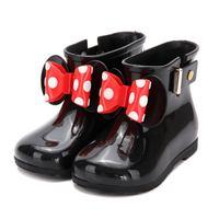 Mini Melissa Kids Schoenen Mickey Minnie Regen Boot PVC Boog 2 laag Boog Kinderen Schoen 2017 Nieuwe Winter Side Klinknagels Houden Warmer leuke