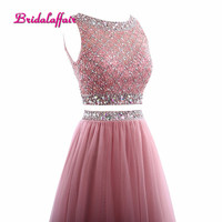 Bridalaffair Real Photo Two piece Pink Tulle Crystal and Beads A Line Long Eveing Dresses 2018Robe de festa Sleeveless Prom Gown