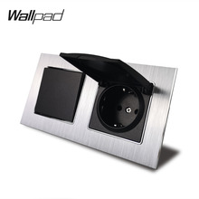 1 Gang 2 Way Light Switch and EU Socket with Dust Cap Wallpad AC Silver Satin Metal Panel 156*86mm 110V 240V