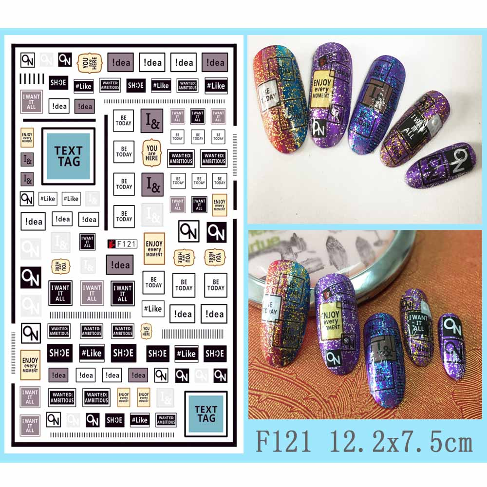 Image 3 - Hot 1 Sheet Heart Shape Letter Design 3D Decal Nail Slider Art DIY Decorations Sticker for Manicure DIY Adhesive Tips BEF174-in Stickers & Decals from Beauty & Health