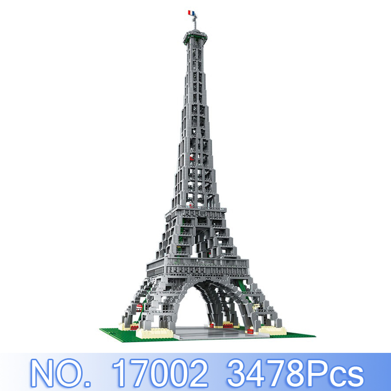 Lepin 17002 City Street Figure 3478Pcs The Paris Eiffel Tower Model Building Kits Blocks Bricks Sets Compatible 10181 Kids Toys aiboully city 7014 7017 model the louvre in paris rome fontana di trevi building blocks sets bricks toys compatible with gift