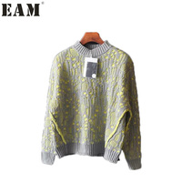 EAM 217 Autumn And Winter Fashion Woman Double Deck Keep Warm New Pattern Round Neck