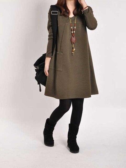 Maternity Dresses Autumn Winter Dress For Pregnant Women Plus Size