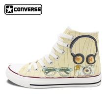 Дизайн Converse All Star ручной росписью обувь Для мужчин Для женщин популярные аксессуары Наушники очки Камера часы высокие холщовые кроссовки