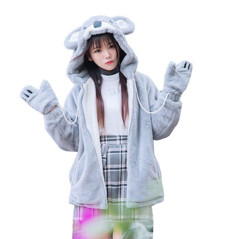 HARAJUKU Women Winter Cartoon Coats Japanese Kawaii Sweet Gray Koala Soft Sister Young Girls Fake Fur