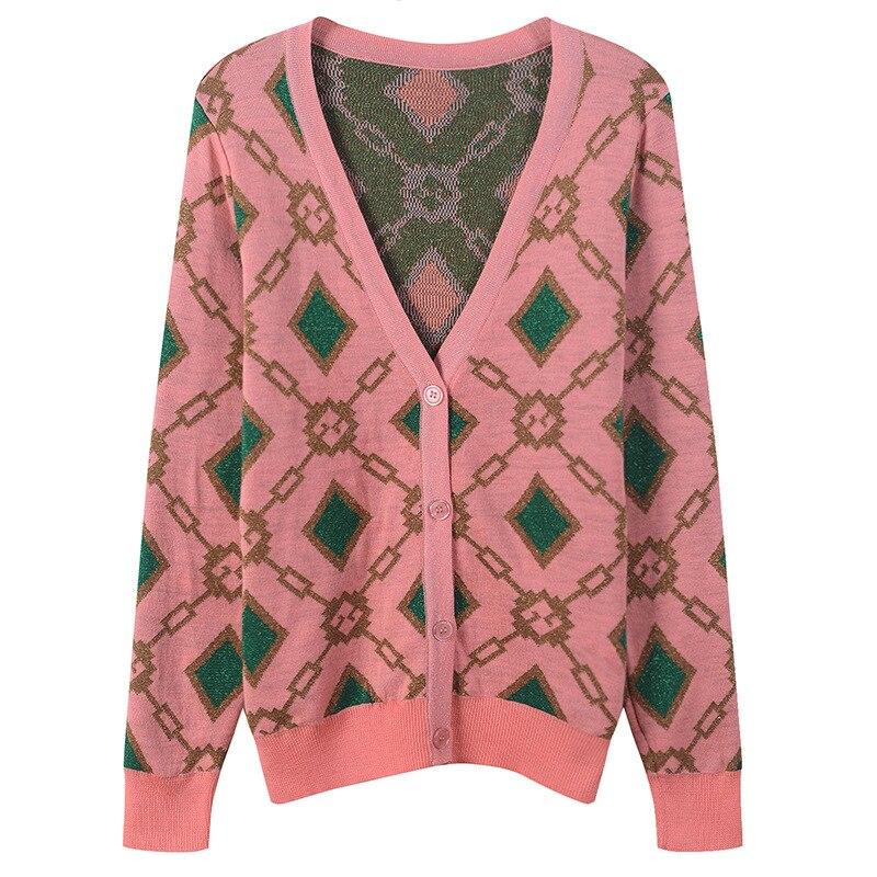 2018 hiver mode rose Plaid chandail Cardigans femmes piste Designer à manches longues femme noël fête chandail doux vêtements