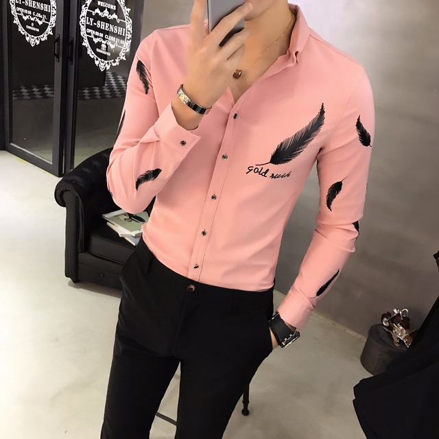 189ca2555bb Camisa Social Slim Fit Casual Black Shirts Outfits Club Pink Shirts Mens  Fitted White Shirts Feather Korean Fashionable Man