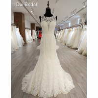 Sleeveless Sheath Lace Wedding Dress Button Back Sheer See Through Sexy Back Bridal Gown