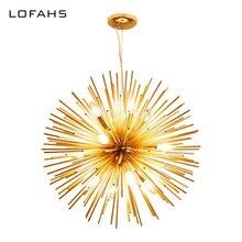 LOFAHSโมเดิร์นความมั่งคั่งจี้โคมไฟระย้าหลอดอลูมิเนียมสีทองโคมไฟระย้าสำหรับห้องนั่งเล่นธุรกิจโอกาส