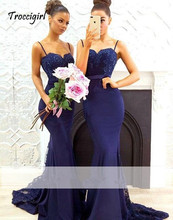 Navy Blue 2019 Mermaid Bridesmaid Dresses Spaghetti Straps Lace Appliques Beaded Party