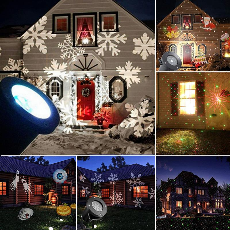 Projection Projector Light Remote Controllable Waterproof Moving LED Spotlight for Christmas Holiday Decoration 15 Patterns