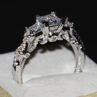 Kích thước 5-11 Trang Sức Vintage 925 Sterling Silver Ba Stones Chúa Cut Nữ Engagement Wedding Nhạc Gold Ring đối với tình yêu quà tặng