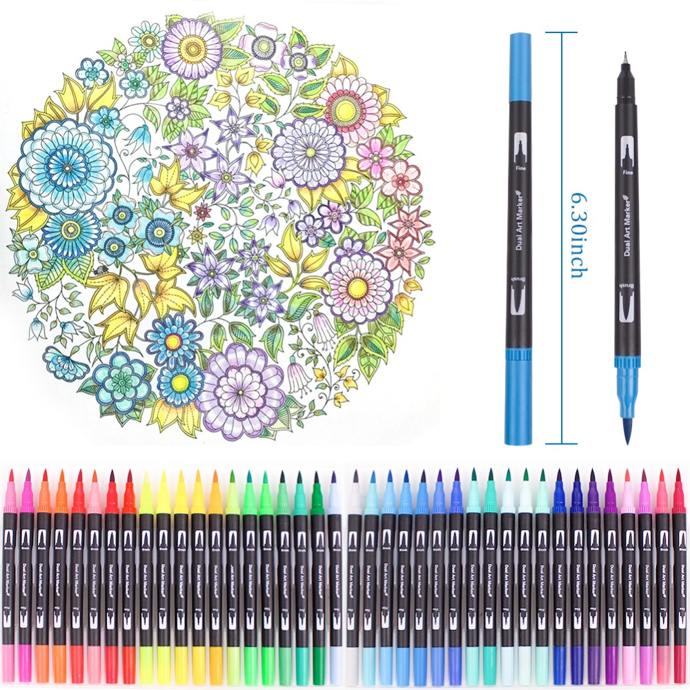 100 Colors Dual Brush Pen Art Markers, include 2mm brush tip and 0.4mm fine tip for Drawing, Sketching, Painting Water Effect