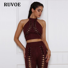 a933f7920d 2017 Summer Vintage Faux Leather Suede Cropped Tank Top Sexy Lace Up Camis  Women Tops Slim