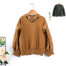 2018 spring children's clothing new girls sweater children loose long-sleeved ball tight elastic open bottoming shirt