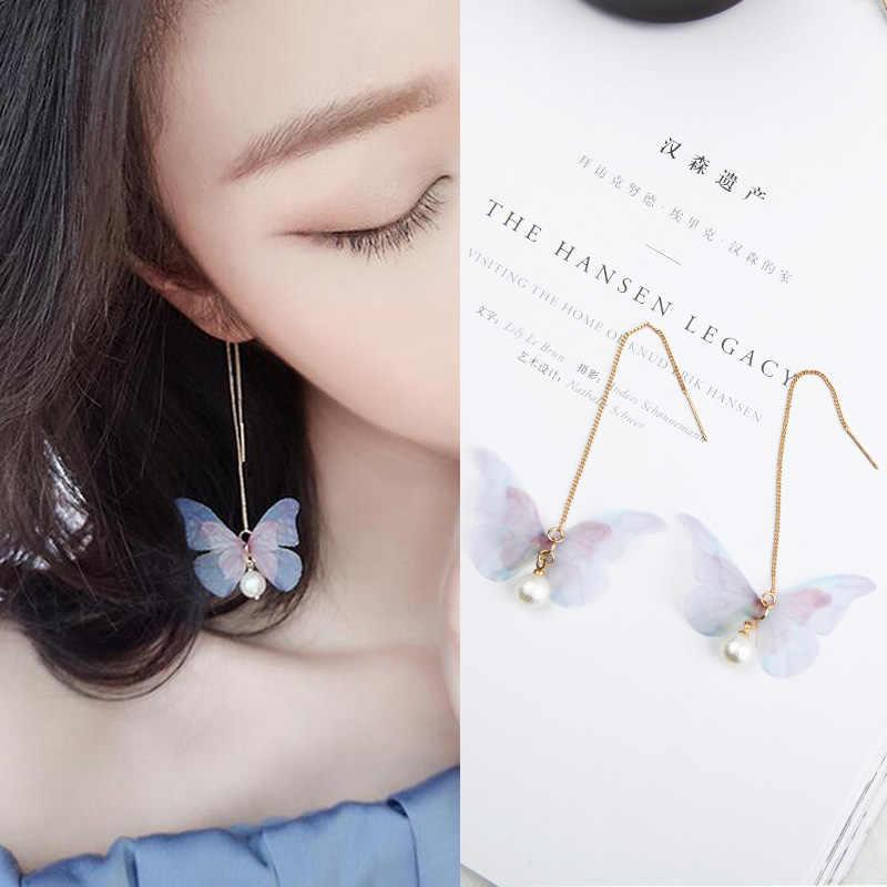 Kore Retro Asimetrik Kelebek Taklit inci küpeler Moda Yuvarlak Çiçek Brincos Uzun Bildirimi Kanatları Küpe Takı