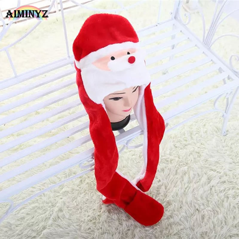 New Soft Warm Animal Christmas Cap Santa Claus Cute Cartoon Plush Hat Earmuffs With Long Scarf Gloves For Women Men Adult Child inflatable cartoon customized advertising giant christmas inflatable santa claus for christmas outdoor decoration