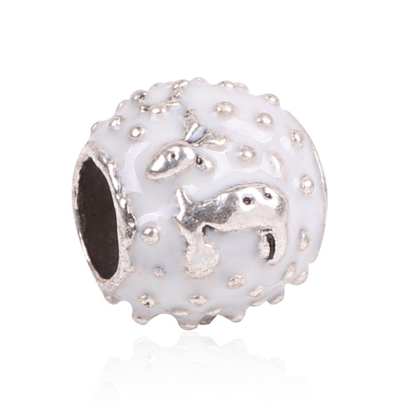 Couqcy 2018 New Arrival 1Pcs Large Hole Silver Color Beads Cute deer Charms Fits European Pandora Charm Bracelet Jewelry