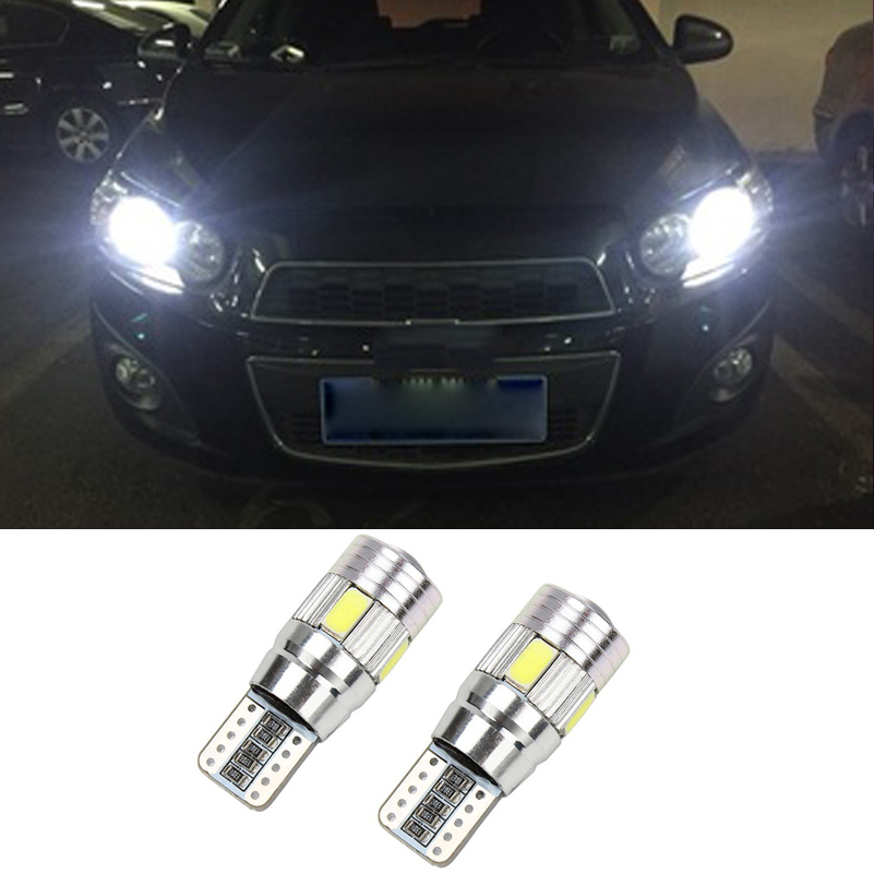 2X Canbus T10 Bulbs 5630 SMD 6 LED Parking Light No Error Clearance Lights For Chevrolet Captiva Cruze 2015 New Sail LOVA Epica wljh 11x canbus 2835 smd led dome map interior light kit for chevrolet cruze equinox sonic malibu spark suburban traverse 2015